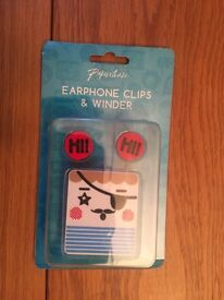 New Paperchase Earphone Clips and Winder Kawaii Style Anime Xmas Gift Christmas Birthday Present