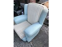 Duck egg blue 3 seater sofa and 2 matching chairs