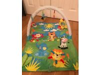 Padded baby playmat with toy bar