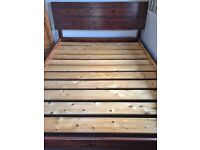 King size wooden bed frame with memory foam mattress