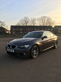 BMW 320D M Sport Coupe 2008 in Graphite Grey with Red Dakota Leather