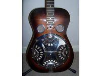 1981. Dobro 60-D Round Neck Resonator Acoustic Guitar Vintage Sunburst. Made by Dobro.New case.