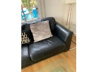Top quality black analine leather three-seater sofa for sale.