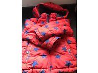 Mini Boden Red Stars Coat Age 6-7 Good condition