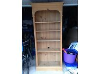 Tall solid pine bookcase