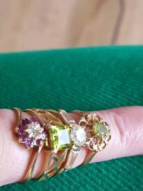4 x 9 ct gold rings