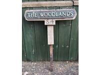 ANTIQUE/VINTAGE HOUSE GARDEN SIGN PLAQUE METAL WOOD THE WOODLANDS
