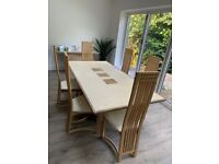 Travertine stone dining table and 6 chairs