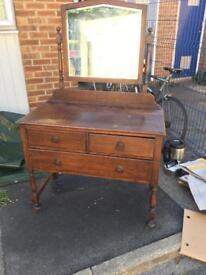 Vintage vanity wood dressing table