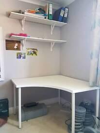 Adils / Linnmon white Ikea corner table / desk