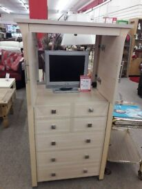 Light Wood TV Cabinet with Storage Drawers