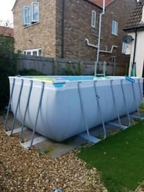 Large steel frame swimming pool. Bestway 13.5' inc heater pump solar cover steps.