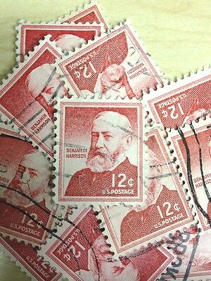 100 USED STAMPS #1045 12C BENJAMIN HARRISON