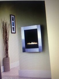 MONET Brushed Stainless Steel Flueless Gas Fire