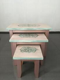 Upcycled wooden nest of coffee tables