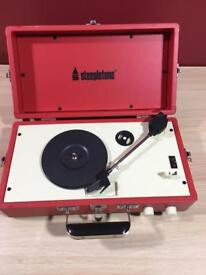 STEEPLETONE PORTABLE VINYL TURNTABLE RECORD PLAYER WITH SPEAKER IN RED