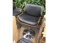 REAL LEATHER and walnut modern bar stools £75
