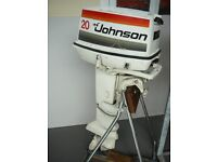 JOHNSON 20HP OUTBOARD ENGINE LONG SHAFT, RECOIL PULL START