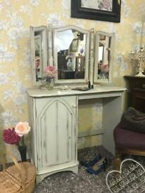Shabby chic style dressing table with large mirror solid wood pine cream colour