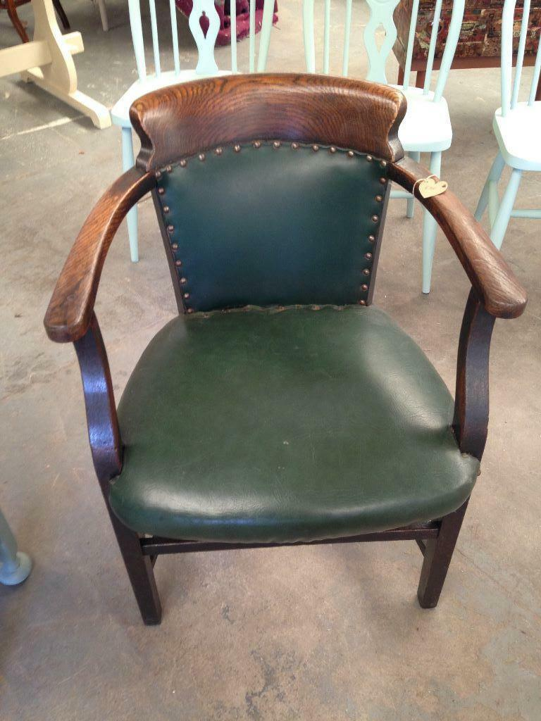 Great Leather Upholstered Captains Chair In Penryn