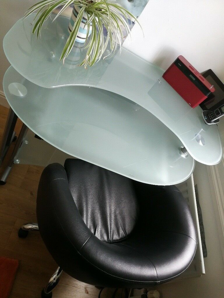 Modern Office Desk Frosted Gl And Metal With Chrome Mock Leather Chair Very