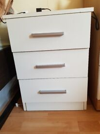White small bed side chest of drawers