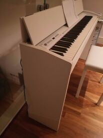 Roland F-120 White Digital Piano with stool, dustcover and headphones