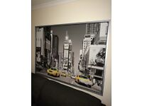 Ikea, large framed Time Sq, New York yellow Taxi
