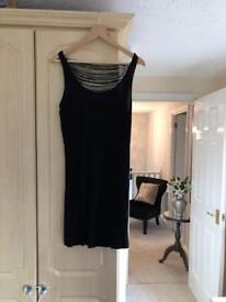 Italian t-shirt dress in black with string detail size 12/14