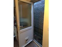 UPVC and frosted glass door with frame