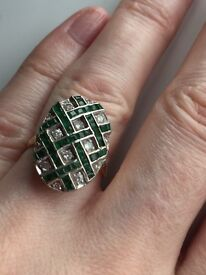 Antique one off emerald and diamond ring