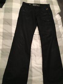 G-STAR Raw Black Oil wash Jeans trousers 32 waist 34 leg