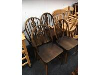 SET OF SIX ERCOL DINING CHAIRS