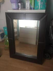 Leather framed mirror