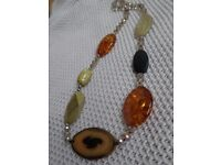 Chunky Faux Amber & Citrine Necklace