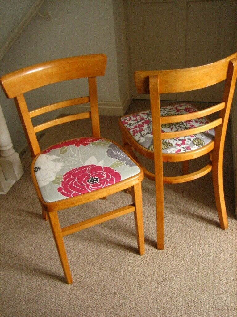 Superb Two 1960S Retro Wooden Kitchen Chairs With New Seat Covers In Church Stretton Shropshire Gumtree Machost Co Dining Chair Design Ideas Machostcouk