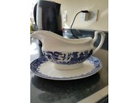 Churchill Gravy boat and plate blye and white