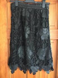 Zara black leather skirt size 10