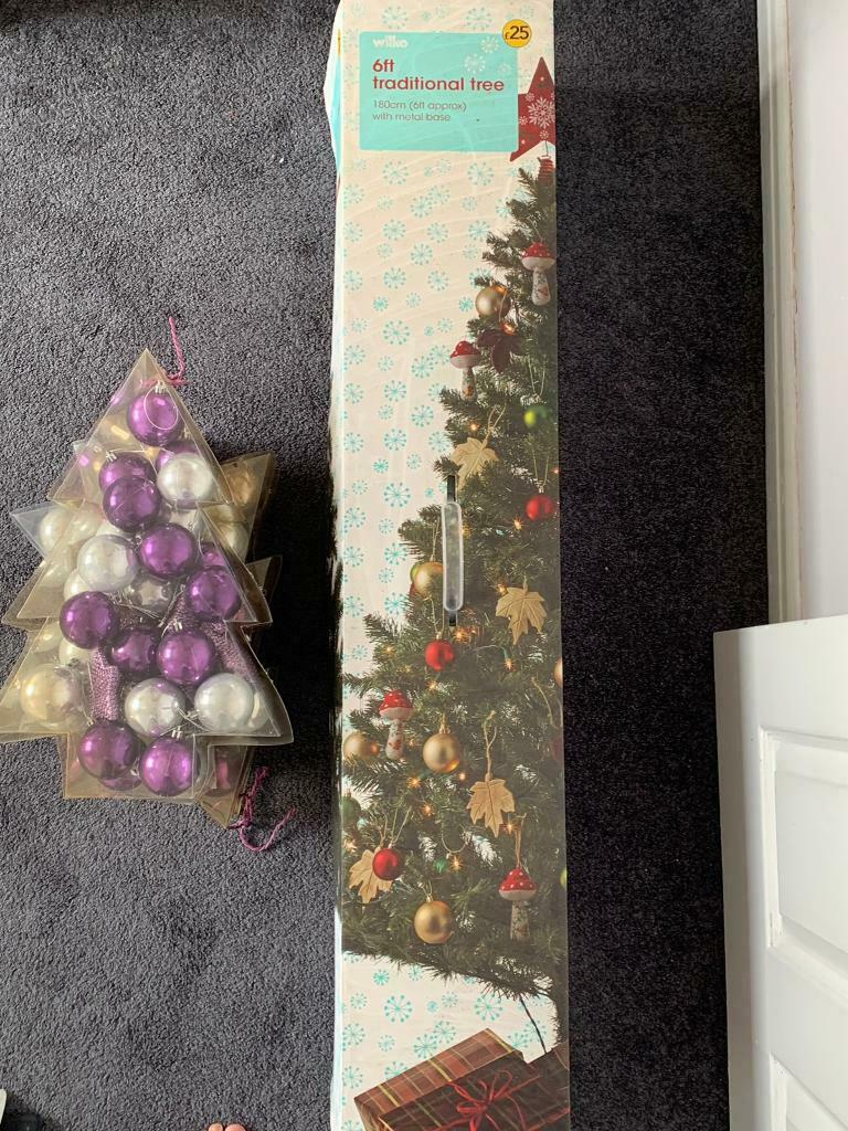 6ft Christmas Tree Purple Silver Decorations For Sale In Billesley West Midlands Gumtree
