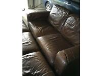 Three seater and two seater natuzzi leather sofa