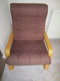 Classic wooden sprung very comfy recliner armchair, timeless design.