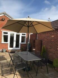Kettler Garden Table and Chairs and wind up umbrella
