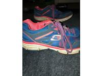 Blue and pink Skechers