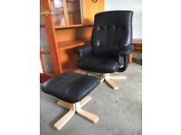 Reclining Office Armchair And Foot Stool - Swivel Chair - Great Condition - Reduced