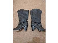 Women's Leather Boots (Size 7 - Worn Once) *Near New*