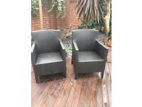A pair (2) of Garden / Patio Wicker Chairs - Very good condition