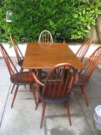 Six Ercol 1960 stamped chairs hardwood plus quality drop leaf dining table