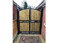 Metal steel wood gate