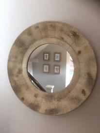 Large shabby chic circular mirror