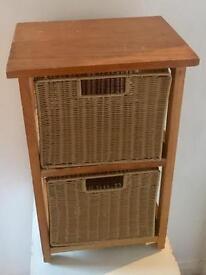 Rattan-Basket Drawer Storage Cabinet Unit-Table